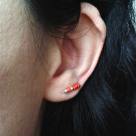 Tiny brick red ear cuffs