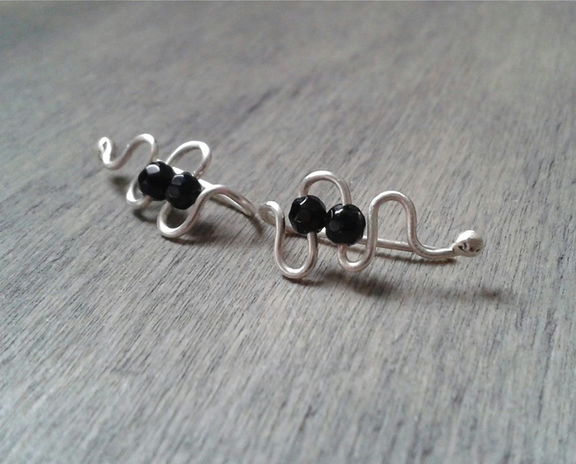 Simple onyx ear cuffs in recycled sterling silver
