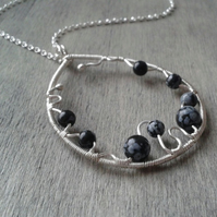 Sterling silver necklace with snowflake obsidian pendant