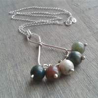 Sterling silver necklace with Indian agate gemstone pendant