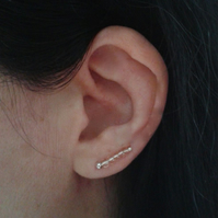 Delicate ear climbers handcrafted with rose glass beads