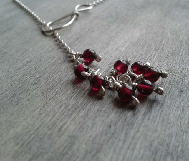 Infinity Y necklace with garnet gemstone pendants