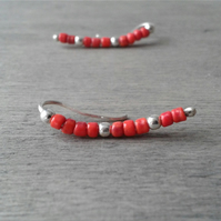Brick red ear crawlers in recycled sterling silver