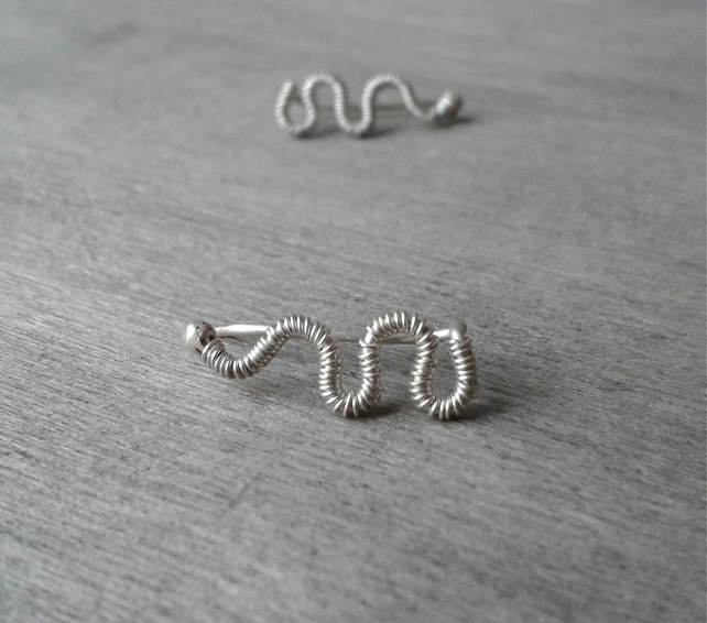 Simple ear cuffs in recycled wire-wrapped Sterling silver