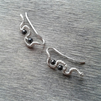 Wire-wrapped ear cuffs with hematite