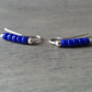 Beaded ear cuffs with purple-cobalt glass beads