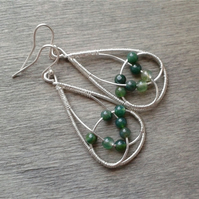Green moss agate teardrop earrings