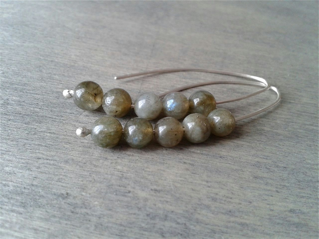 Simple silver earrings with labradorite