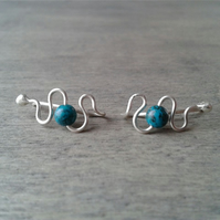 Silver ear climbers with turquoise gemstone