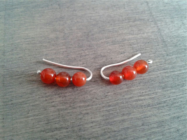 Small ear climbers with carnelian gemstone