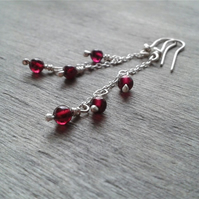Cute drop earrings with garnet