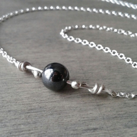 Sterling silver collar necklace with hematite