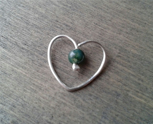 Heart daith earring in sterling silver