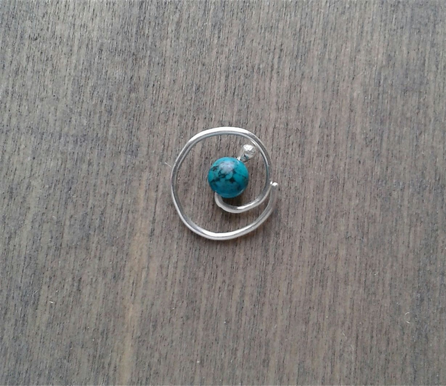 Spiral daith earring with turquoise