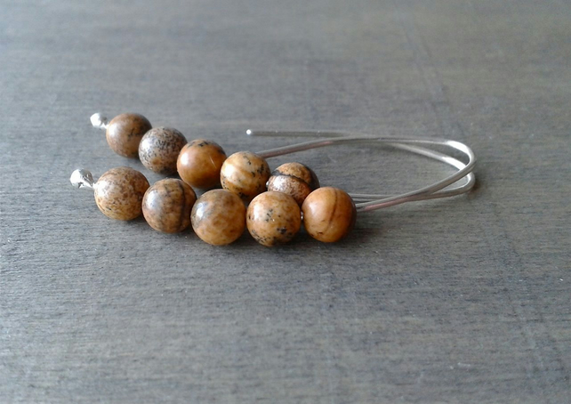 Picture jasper threader earrings in recycled silver