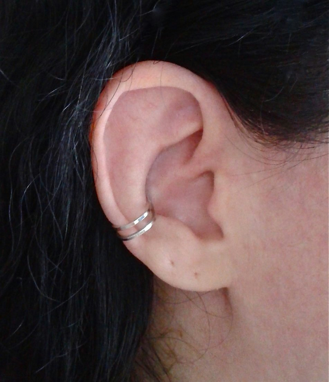 Double ear cuff in sterling silver
