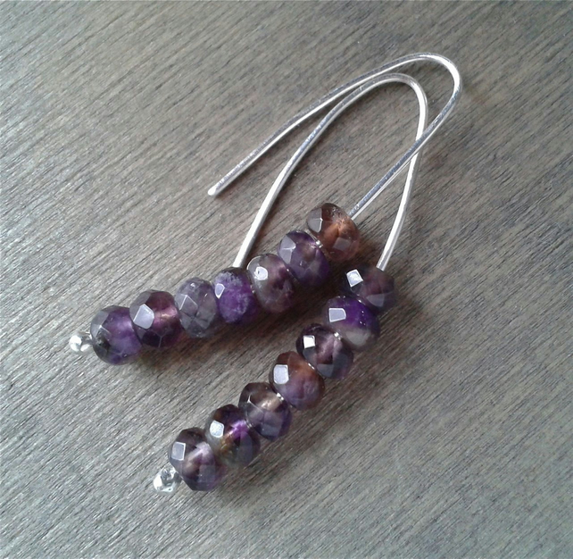 Organic amethyst threaders in recycled sterling silver