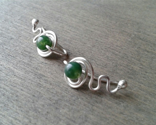 Silver ear cuffs with green moss agate gemstone