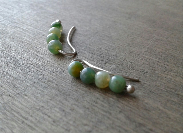 Green moss agate ear sweeps in recycled sterling silver