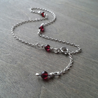 Sterling silver anklet with garnet