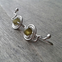 Sterling ear cuffs with green garnet