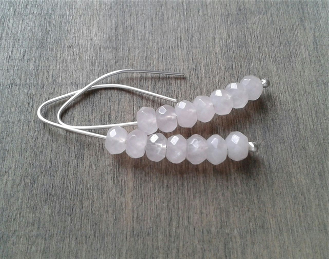 Rose quartz threader earrings
