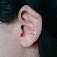 Double loop cartilage earring in sterling silver