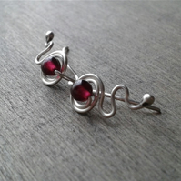 Red ear cuffs in recycled sterling silver with garnet