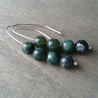 Silver threader earrings with dark green Indian agate