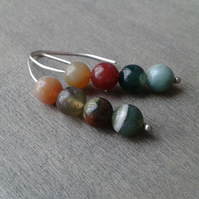 Threader earrings with Indian agate