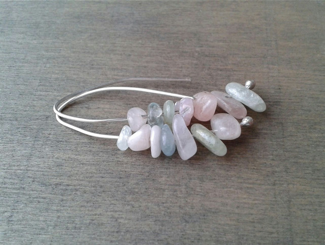 Eco-friendly threader earrings with rose and blue beryl