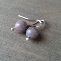 Pink Indian agate small dangle earrings