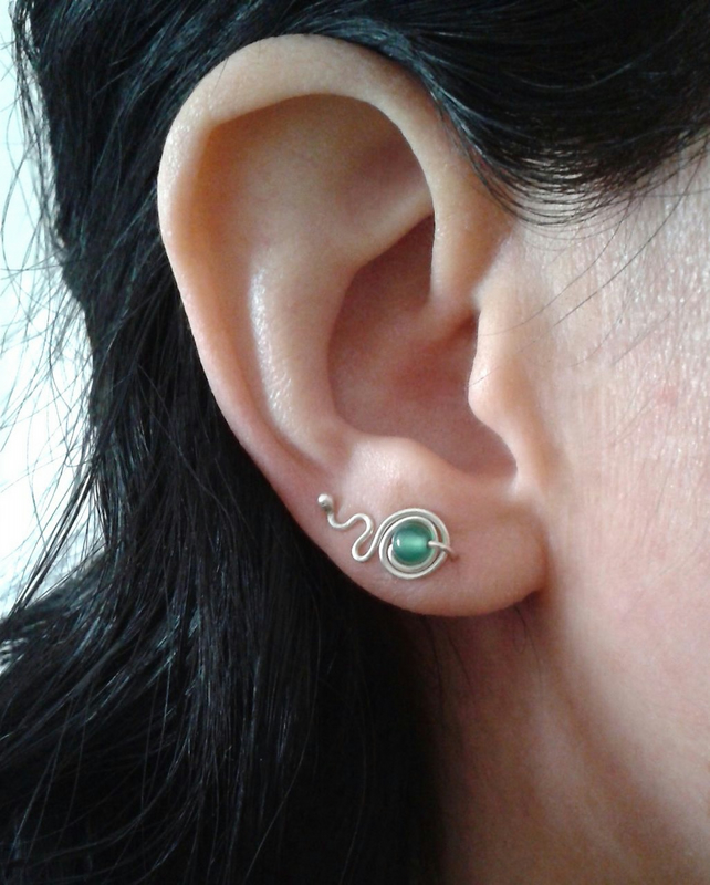 Silver ear cuffs with green agate gemstone