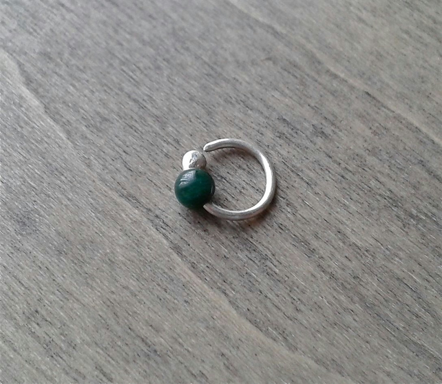 Daith sterling silver hoop with malachite