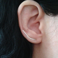 Long hammered earring cuffs in sterling silver