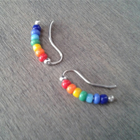 Rainbow earrings with glass beads in the colors of the rainbow