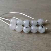 Sterling silver threader earrings with rutilated quartz