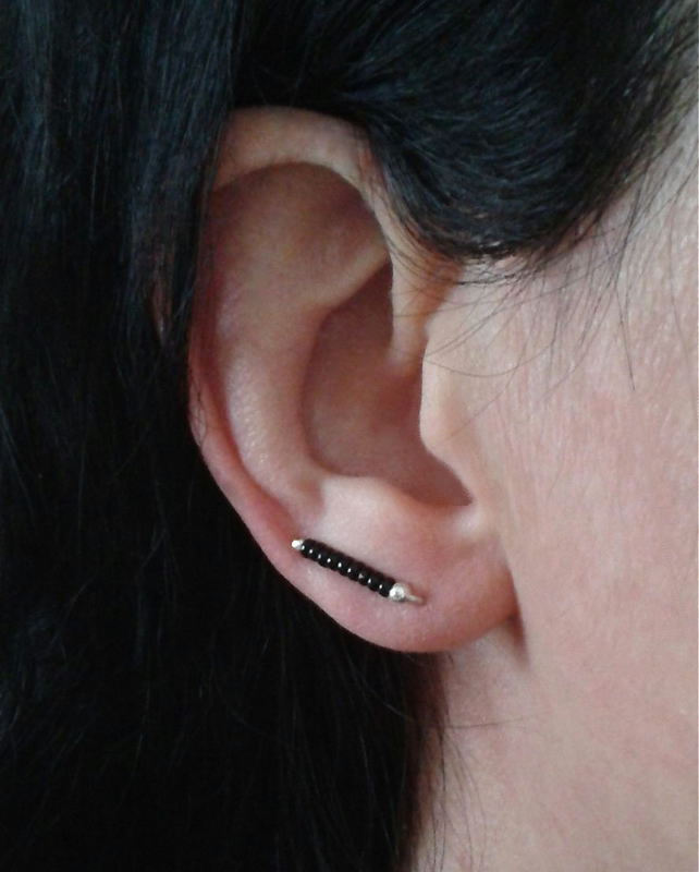 Small ear cuffs with black glass beads