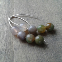 Silver threader earrings with green and pink Indian agate