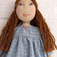 Cloth Art Doll in Powder Blue dress with hand drawn face