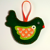 Green Felt Bird - Hanging Christmas Tree Decoration with Orange appliqué wing