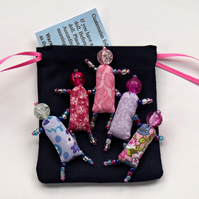 Bead Worry Dolls - 5 Pastel coloured - hand beaded dolls with draw string bag