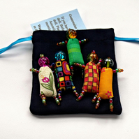 Bead Worry Dolls - 5 bright coloured - hand beaded dolls with draw string bag