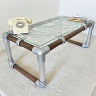 graffiti-etched glass, scaffold & smoked oak coffee table