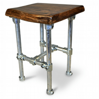 industrial smoked oak and scaffold stool