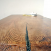 MADE TO ORDER: live-edge woodgrain elm and welded steel coffee table