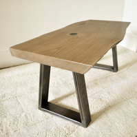 MADE TO ORDER: contemporary chestnut slab and welded steel coffee table
