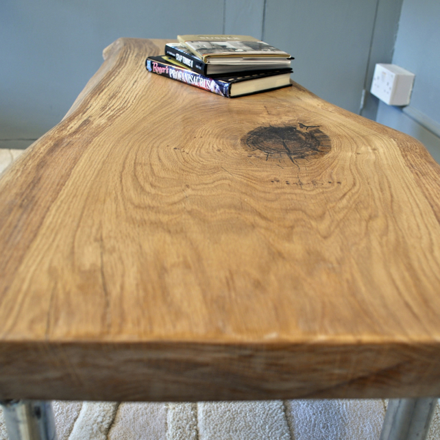 Minimalist slab oak and scaffold coffee table folksy for Oak slab coffee table
