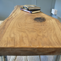 minimalist slab oak and scaffold coffee table