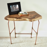 MADE TO ORDER: quirky natural-edge walnut & copper console table